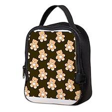 Brown Teddy Bear Pattern Neoprene Lunch Bag