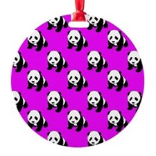 Cute Panda; Neon Purple, Black White Ornament