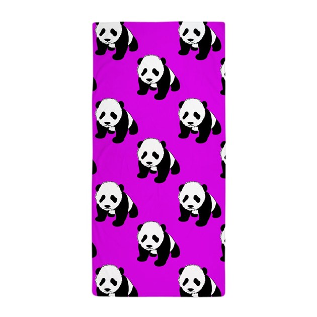 Cute Panda Neon Purple Black White Beach Towel By