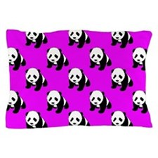 Cute Panda; Neon Purple, Black White Pillow Case