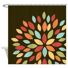 Cute Retro Colors Flower on Brown Shower Curtain