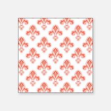Fleur-de-lis, Coral Orange White Sticker