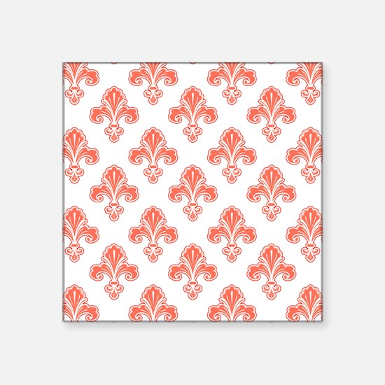 Fleur-de-lis, Coral Orange White Sticker