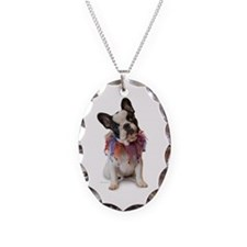 French Bulldog Puppy Necklace Oval Charm