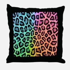 Colorful Leopard Throw Pillow