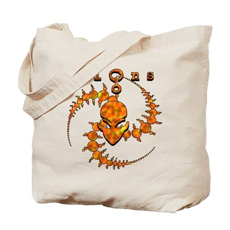 Spiral Crop Circle w/Alien Face Dark Orange Tote B