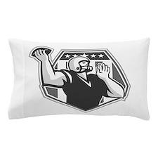 American Football Quarterback Shield Grayscale Pil