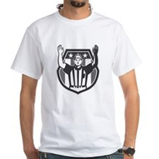 American Football Official Referee Grayscale T-Shi