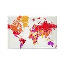 abstract world map with dots Magnets