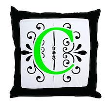 MONOGRAM FLORESCENT GREEN & BLACK Throw Pillow