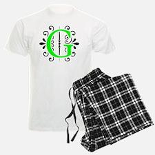 MONOGRAM FLORESCENT GREEN & B Pajamas