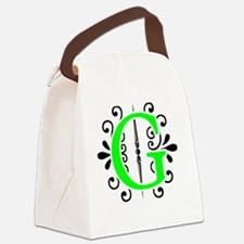 MONOGRAM FLORESCENT GREEN & BLACK Canvas Lunch Bag