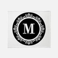 Black | White Scroll Monogram Throw Blanket