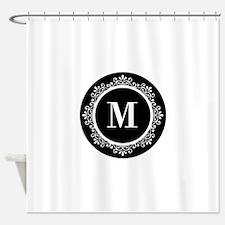 Black   White Scroll Monogram Shower Curtain