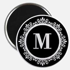Black | White Scroll Monogram Magnet