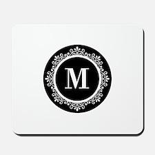 Black | White Scroll Monogram Mousepad