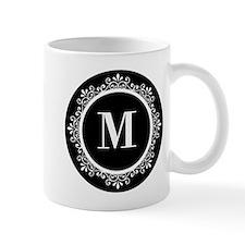 Black   White Scroll Monogram Small Small Mug
