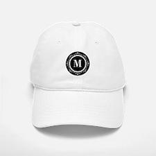 Black | White Scroll Monogram Baseball Baseball Cap