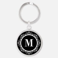 Black | White Scroll Monogram Round Keychain