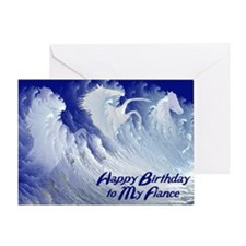 For fiance, wild white surf horses birthday card G