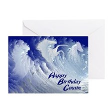 For cousin, wild white surf horses birthday card G