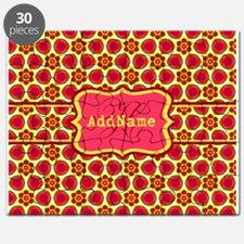 Red Yellow Floral Pattern Monogram Puzzle