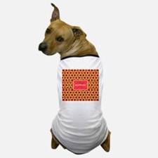 Red Yellow Floral Pattern Monogram Dog T-Shirt