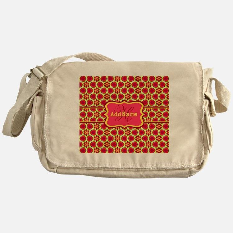 Red Yellow Floral Pattern Monogram Messenger Bag