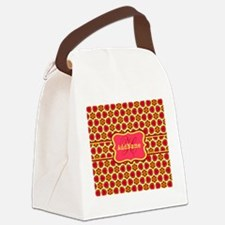 Red Yellow Floral Pattern Monogra Canvas Lunch Bag