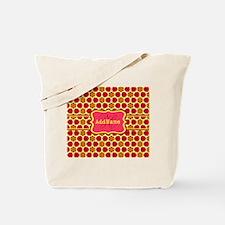 Red Yellow Floral Pattern Monogram Tote Bag