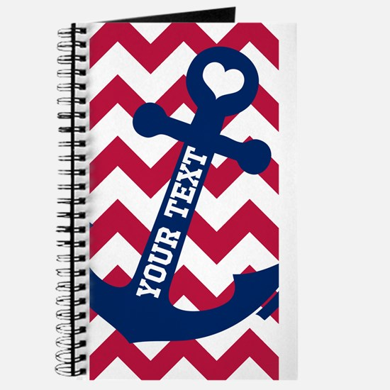 Personalized Nautical Chevron Anchor Journal