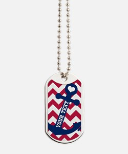 Personalized Nautical Chevron Anchor Dog Tags