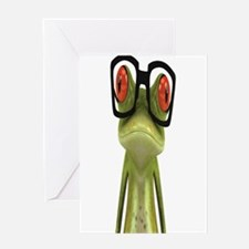Frog Glasses Greeting Cards