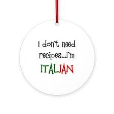 italian recipes Ornament (Round)