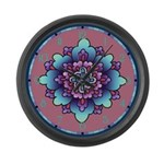 Blue And Purple Floral Large Wall Clock