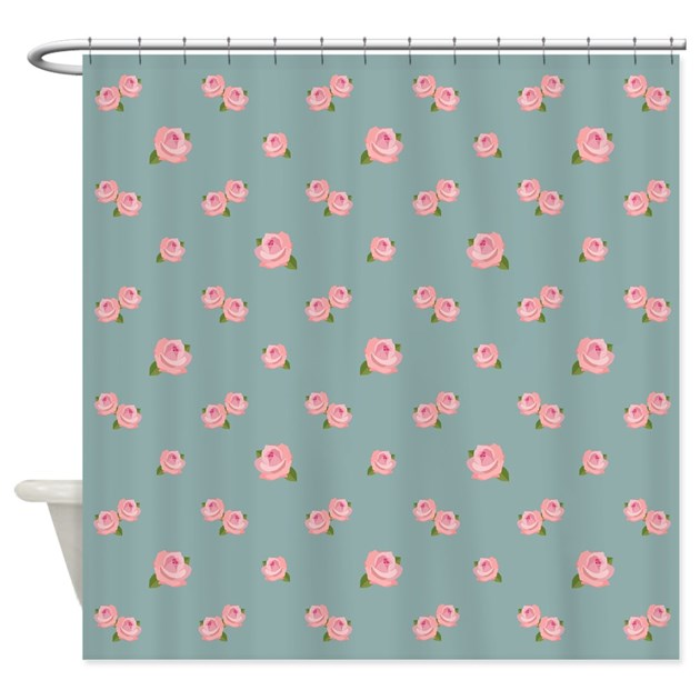 Pink Rose Pattern On Light Teal Shower Curtain by NataliePaskellDesign