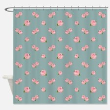 Pink Rose Pattern On Light Teal Shower Curtain