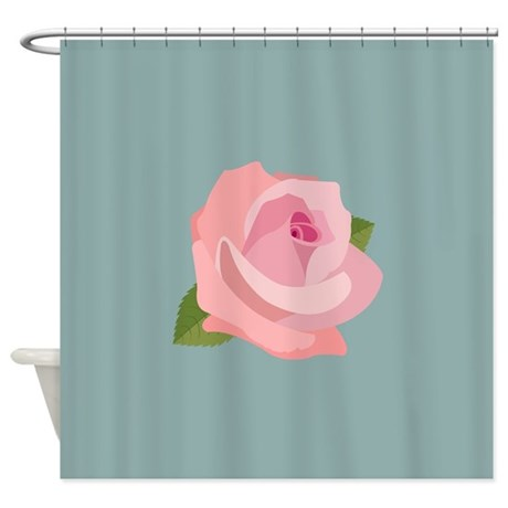 Pink Rose On Light Teal Shower Curtain By NataliePaskellDesign