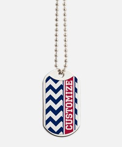 Customized Red White Blue Chevron Pattern Dog Tags