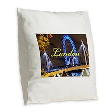 Millennium Wheel London Burlap Throw Pillow