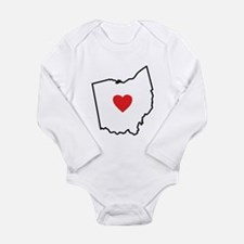 I Love Ohio Long Sleeve Infant Bodysuit