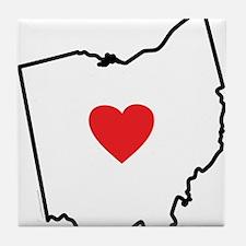 I Love Ohio Tile Coaster