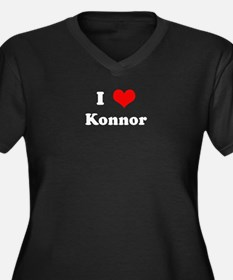 I Love Konnor Women's Plus Size V-Neck Dark T-Shir