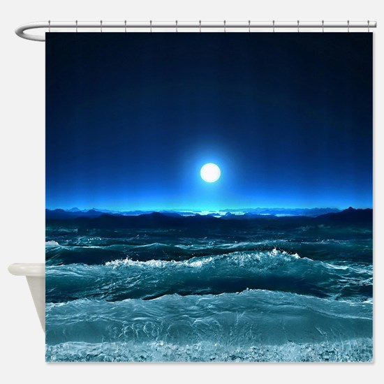 Moonlight Waves Shower Curtain