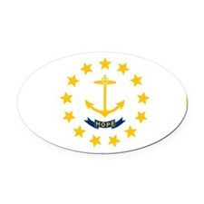 Rhode Island State Flag Oval Car Magnet