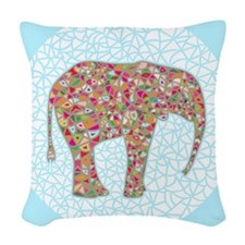 Elephant Circle #2 Woven Throw Pillow