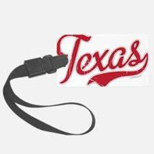 Texas Script Font Red Luggage Tag