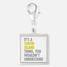 Staten Island Thing Silver Square Charm