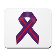Purple With Red Stripe Awareness Ribbon Mousepad