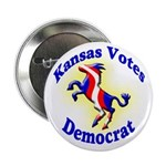 Kansas Votes Democrat Political Button